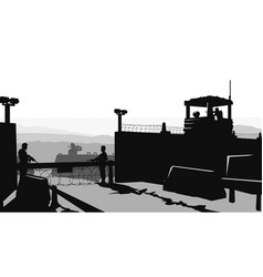 Military base with soldiers in silhouette style vector