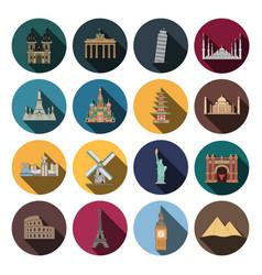 Modern landmark icons vector