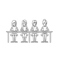 Monochrome silhouette of teamwork of women sitting vector