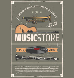 Musical instruments music store poster vector