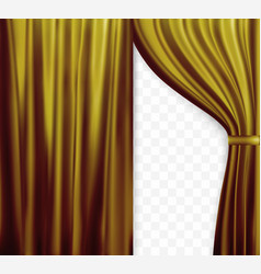 Naturalistic image of curtain open curtains gold vector