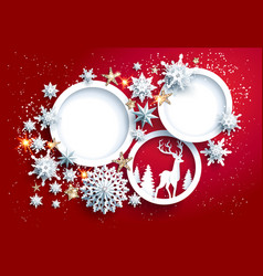 paper cut red holiday card vector image