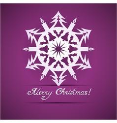 Paper origami christmas snowflake card vector