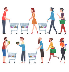 people walking with shopping carts and baskets set vector image