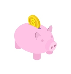 Piggy bank icon isometric 3d style vector