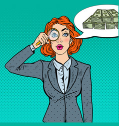 pop art business woman with magnifier found money vector image