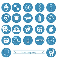 Pregnancy and newborn baby icons set vector image