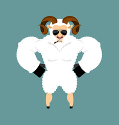 ram strong cool serious sheep smoking cigar emoji vector image
