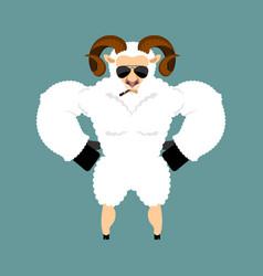 ram strong cool serious sheep smoking cigar emoji vector image