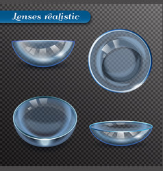 realistic eye lenses transparent set vector image