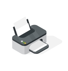 Realistic printer isometric vector image