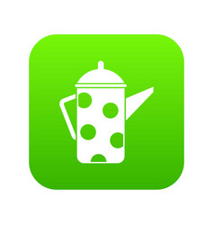 retro coffee kettle icon digital green vector image