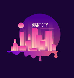 retro of a night city on dark vector image