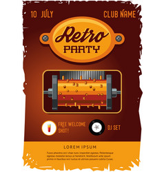 retro party poster template with vintage clockwork vector image vector image