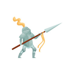 Royal knight with spear in hands in fighting pose vector
