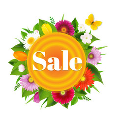 Sale banner ball from flowers with butterfly vector