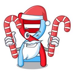 Santa with candy dna molecule mascot cartoon vector