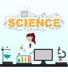 Scientist testing with science icons in laboratory vector