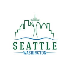 Seattle skyline design template vector