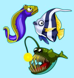 Set anglerfish eel striped tropical fish vector