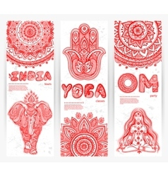 set banners with mandalas and yoga vector image