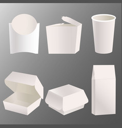set of blank takeaway food box mockup design vector image