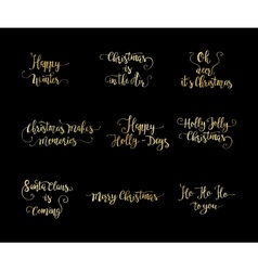 Set of handdrawn christmas lettering vector