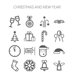 Set of simple icons for New Year and Christmas vector image