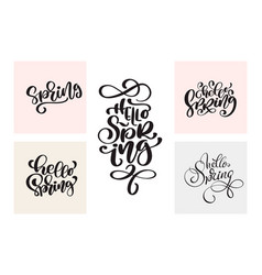 set of spring calligraphy lettering handwritten vector image