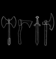 set of viking weapons hand drawn sketch on black vector image