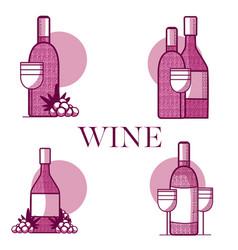 set of wine emblems vector image vector image