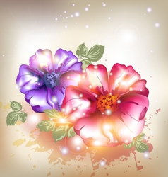 Sexy pink and purple flowers vector