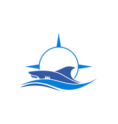 Shark compass sea abstract logo icon vector