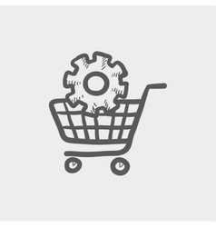 Shopping cart with gear sketch icon vector