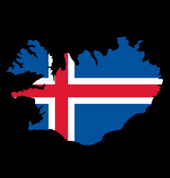 Silhouette country borders map of iceland on vector