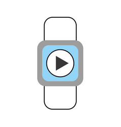 Smartwatch with media player isolated icon vector