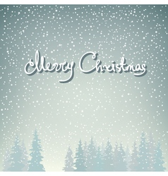 Snow falls on spruces and text vector