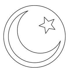 Star and crescent icon outline style vector