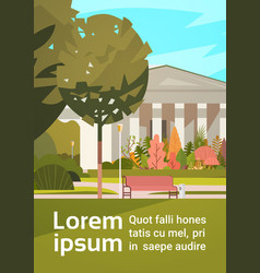 summer city park with town building background vector image