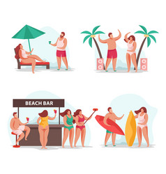 summer relax compositions set vector image