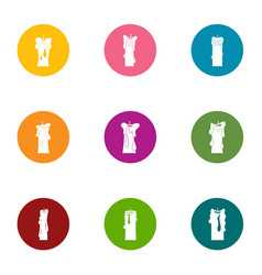Suppository icons set flat style vector
