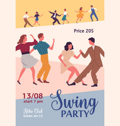 swing party colorful promo poster with place for vector image