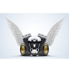 Symbol of motorcycle engine with White open wings vector image