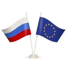 Table stand with flags of Russia and European vector image