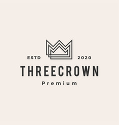 three king crown hipster vintage logo icon vector image
