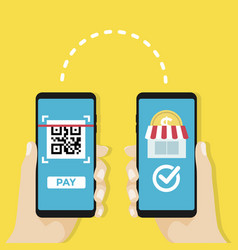 transfer money to shop by qr code mobile payment vector image