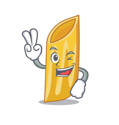 Two finger penne pasta character cartoon vector