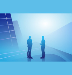 Two silhouette businessman talking discussion vector