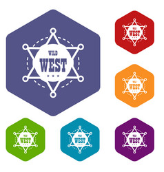 wild west icons hexahedron vector image
