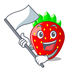 with flag fresh strawberry in a bowl cartoon vector image